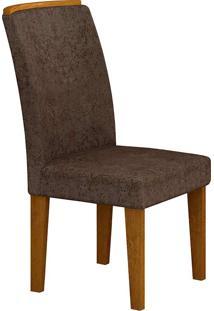 Cadeira Lunara Suede Amassado - Rufato - Imbuia / Chocolate