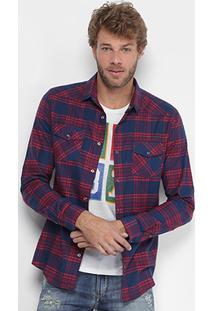 Camisa Xadrez Calvin Klein Flanelada Bolso Masculina - Masculino-Vermelho