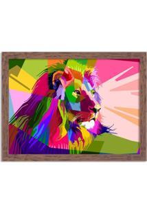 Quadro Decorativo Leão Geométrico Colorido Madeira - Médio