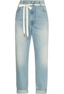 Denimist Calça Jeans Reta Com Amarração Na Cintura - Azul