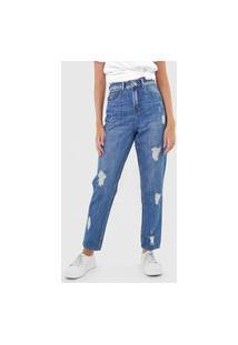 Calça Jeans Lez A Lez Slim Destroyed Azul