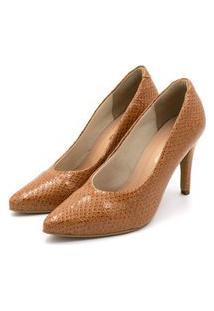 Sapato Feminino Scarpin Salto Alto Fino Em Napa Vancouver Caramelo