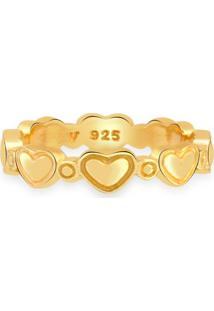 Anel Life Corações Com Banho Ouro Amarelo