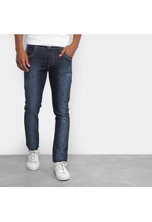 Calça Jeans Slim Coffee Estonada Masculina - Masculino