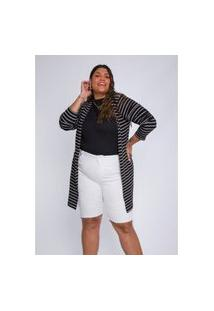 Cardigan Plus Size Feminino Quintess Listrado