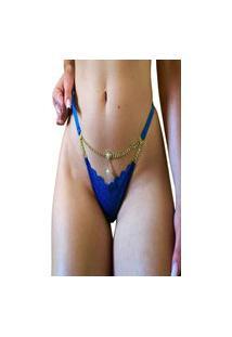Calcinha Tanga Mdmix Biju Sexy Rendada Luxo Com Regulagem Azul
