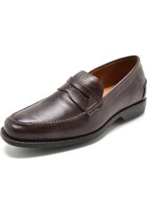 Sapato Social Couro Richards Pesponto Marrom