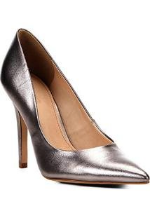 Scarpin Couro Shoestock Metalizado Salto Alto - Feminino-Chumbo