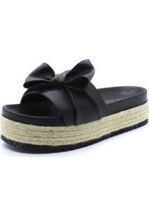 Sandália Flatform Shoes Inbox Laço Feminina - Feminino-Preto