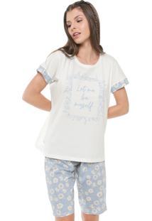 Short-Doll Pzama Estampado Off-White/Azul