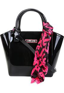 Bolsa Petite Jolie J-Lastic Shape Bag Feminina - Feminino-Preto+Pink