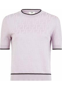 Fendi Blusa De Tricô Com Padronagem Ff - Rosa
