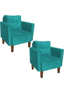 Kit 02 Poltrona Decorativa Lívia Para Sala E Recepção Suede Azul Tiffany - D'Rossi