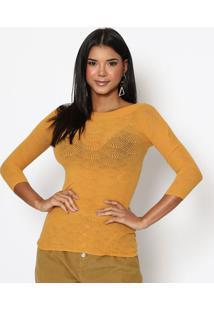 Blusa Com Textura Geomã©Trica- Amarelo Escurotrifil