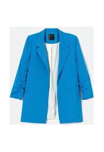 Blazer Alfaiataria Alongado Em Crepe Com Franzidos Nos Punhos | Blue Steel | Azul | Pp