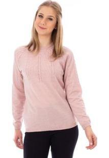 Blusa De Meia Malha Com Tranças Sumaré Feminina - Feminino-Rosa