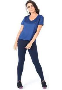 Camiseta Olympikus Gola V Feminina - Feminino-Azul Escuro