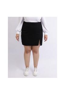 Saia Feminina Mindset Plus Size De Sarja Curta Com Fenda Preta