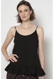 Blusa Com Botões- Preta- Linho Finolinho Fino