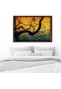 Quadro Love Decor Com Moldura Árvore Madeira Escura Médio