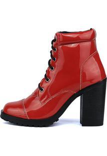 Bota Cr Shoes Tratorada Verniz Vermelha