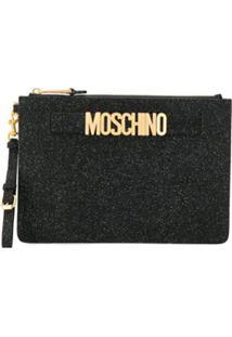 Moschino Clutch Com Glitter - Preto