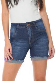 Bermuda Jeans Biotipo Slim Estonada Azul