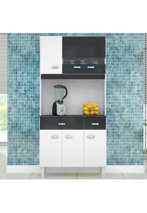 Cozinha Compacta 6 Portas E 2 Gavetas Manu - Poquema - Branco / Preto