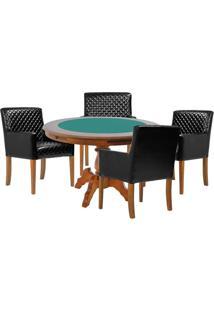 Mesa De Jogos Carteado Redonda Montreal Tampo Reversível Amêndoa Com 4 Cadeiras Liverpool Corino Preto Matelassê - Gran Belo
