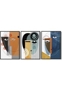 Quadro 40X90Cm Abstrato Oriental Setto Moldura Flutuante Filete Preta Decorativo - Multicolorido - Dafiti