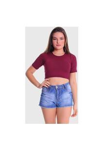 Cropped T-Shirt Plus Size Lynnce Marsala