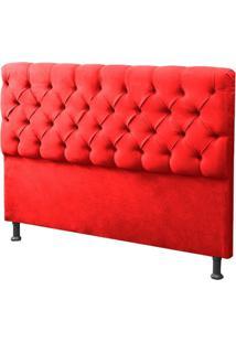 Cabeceira Casal King 190Cm Para Cama Box Sofia Suede Vermelho - Ds Móveis