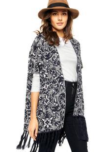 Kimono Maria Filó Franjas Branco/Azul-Marinho