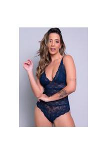 Body Feminino Bella Fiore Modas Sexy Renda Transparente Azul Marinho