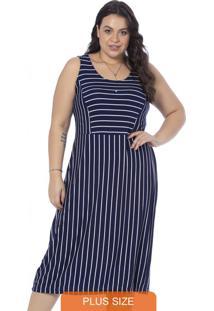Vestido Feminino Plus Size Listrado Marinho