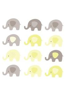 Adesivo De Parede Infantil Elefante Amarelo E Cinza 48Un 12X8Cm