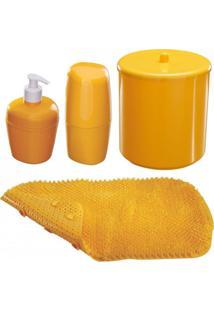 Kit Acessórios Para Banheiro Astra 4 Peças Amarelo
