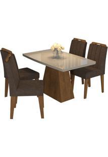 Sala De Jantar Helen 130 Cm Com 4 Cadeiras Savana/Off White Cacau