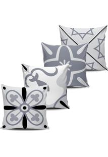 Kit 4 Capas Almofadas Decorativas Azulejos Cinza 45X45Cm - Tricae