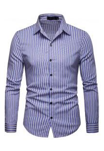 Camisa Masculina Slim Listra Vertical Manga Longa - Azul