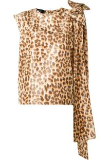 Rochas Bow-Detail Leopard-Print Top - Neutro