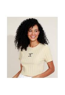 "Blusa Feminina Cropped Canelada Com Bordado I´Ve Got Butterflies In My Stomach"" Manga Curta Decote Redondo Bege Claro"""