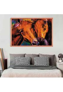 Quadro Love Decor Com Moldura Horses Rose Metalizado Grande