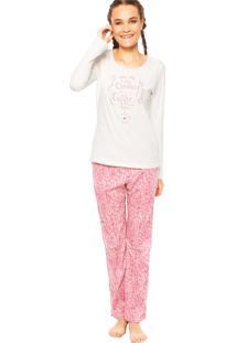 Pijama Cor Com Amor Laura Off-White/Rosa