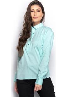 Camisa Camisete Social Feminina Lisa Manga Longa Casual - Feminino-Verde+Azul