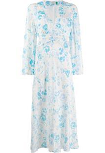 Rixo Vestido Midi Com Estampa Flora - Azul