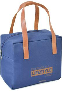 "Bolsa Térmica ""Lifestyle""- Azul & Marrom Claro- 22X2Boxmania"