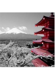 Quadro Japão Uniart Cinza & Vermelho 45X45Cm