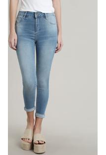 Calça Jeans Feminina Sawary Cropped Pull Up Azul Claro