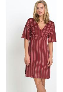 Vestido Decote Transpassado Listrado Vermelho